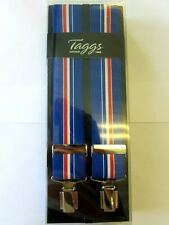 STRIPED BLUE RED & WHITE ELASTICATED CLIP END BRACES