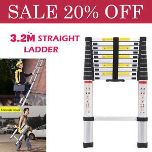10ft5 Folding Step Aluminum Telescoping Collapsible Roof Climbing Ladder EN131