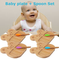 Natural Bamboo Toddler Feeding Plate  Panda Cub Suction Baby Stay w/