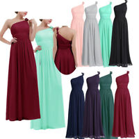 Women One-shoulder Chiffon Long Evening Prom Gown Maxi Dress Cocktail Bridesmaid