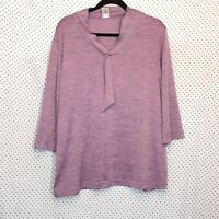 Blair XL Blouse Purple Solid V Neck 3/4 Sleeve Tassel Stretch Knit Casual Womens