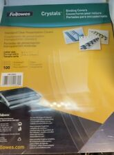 """Fellowes CRC52043 Clear Binding Covers, 8.5 x 11"""", Pack of 100"""