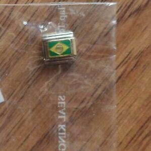 NEW Pugster ~ Brazil Flag ~ 9mm stainless steel Italian link charm green