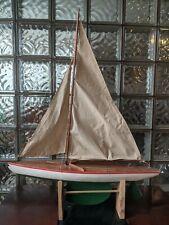 """Great Vintage Hollow Wood Pond Yacht Boat Hull Sailboat 28"""" x 35"""" w/ Metal keel!"""