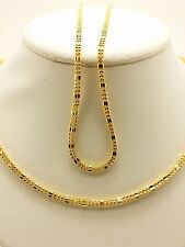 18k Solid Yellow Gold Shiny Square Beaded Necklace/ Chain 8.11 Grams
