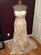 NWT Mori Lee Wedding Dress Womens Size 14 Champagne Bridal Gown Formal