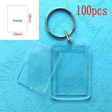 100x Clear Acrylic Blank Frame Keyrings, Photo Picture Insert Keyfobs Keychains