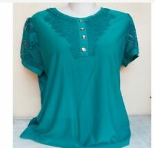 LADIES LACE TOP NC - BLUE GREEN