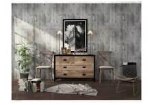 3D Rustic Grey Cement Wallpaper Textured Purplish Grey Concrete Wallpaper Roll