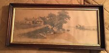 CHARLES GONDEL PENCIL SIGNED PRINT HOUSE BY A RIVER FRAMED UNDER GLASS
