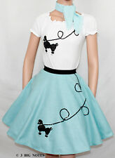 "3 PC Light Blue 50's Poodle Skirt outfit Girl Youth Sz 10/11/12/13 Waist 23""-30"""