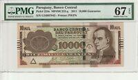 Paraguay 2011 10000 Guaranies PMG Certified Banknote UNC 67 EPQ Superb Gem 224e