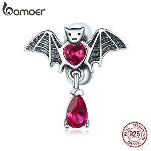 BAMOER European Purple Pavé CZ Bat beads Charm S925 Sterling Silver for Bracelet