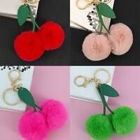ITS- Faux Fur Pom-pom Key Chain Bag Charm Fluffy Ball Cherry Ring Car Pendant Fa