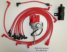 DODGE 440 59-72 RED Small Female HEI Distributor+Black 45K Coil+Spark Plug Wires