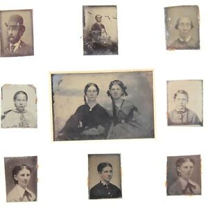 Brockway Parker family tintype ferrotype portrait group antique photographs