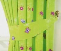 """NEW CHILDRENS Bedroom Curtains 66""""x54"""" GIRLS Green Fairytale Princess Butterfly"""