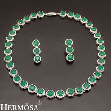 CLASSIC GREEN EMERALD 925 STERLING SILVER EARRINGS NECKLACE WOMENS JEWELRY SETS