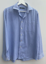 "Men's Shirt Size 15 1/2"" Neck Blue White M&S Check Polycotton <MM1098"
