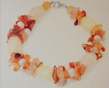 Precious stone bracelet Carnelian Freshwater Pearl ~NEW~