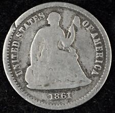 5 & 10¢ NIGHT! BEAUTIFUL, G DETAILS 1861 SEATED LIBERTY HALF DIME. NO RESERVE!