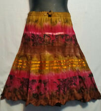 Women Clothing Eastic Waist Short Tie Dye Skirt Embroidered Free Size Fuchsia