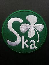 SKA TWO TONE REGGAE MUSIC SEW ON / IRON ON PATCH:- SKA IRISH FOUR LEAF CLOVER