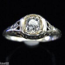 Art Deco Old Mine Cut Diamond 14k White Gold Engagement Ring Antique c.1920s