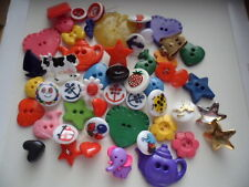 LOT 50 RETRO KIDS CHILDREN THEMED SEWING BUTTONS FOR CRAFT DOLL BEAR QUILT ETC