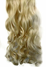 """20/22"""" Clip in Hair Extensions CURLY Light Blonde #613 FULL HEAD 8pcs"""