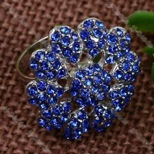 Dark Blue Crystal Adjustable Flower Finger Ring #7.5