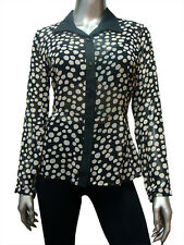 Polka Dot Satin Collar Black Size S Peplum Blouse Shirt New