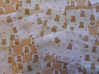 "50 x 4"" 100% Cotton Fabric Beige Nursery Patchwork squares Quilting Craft"