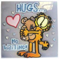 "Garfield the Cat Hugs...No Waiting! Pooky 8"" x 8"" Ceramic Tile #15966 NEW UNUSED"