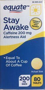 Stay Awake Caffeine Alertness Aid Equate Brand (200mg) - 80 Tablets