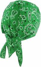 GREEN SPANDEX Motorcycle Doo Rag Paisley Cycling Skull Cap Bandana Chemo Hat