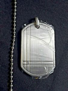 NOS Chisel Titanium Diamond Accent Dog Tag Pendant w/ Stainless Steel Chain 22""