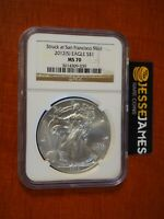 2012 (S) $1 AMERICAN SILVER EAGLE NGC MS70 STRUCK AT SAN FRANCISCO BROWN LABEL