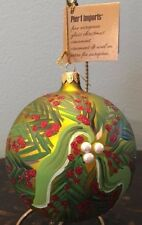 2016 New Pier 1 Imports Made In Italy Glass Green Pine Spray Christmas Ornament