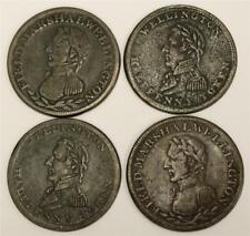 4x Wellington Half Penny tokens 1813-14  2x WE-2 & 2x WE-8 with 1 overstruck