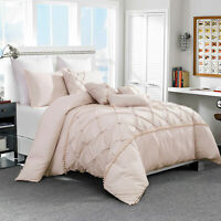 7 Piece Luxury Pinch Pleat Pintuck Ruffling Beding Comforter Set,Queen Size,Pink