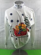 Ugly Christmas Sweater Turtleneck Sleigh Size Medium EUC Sports Accent