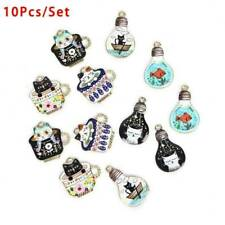 Lots 10x Cute Cat Enamel Charms Pendants For Diy Necklace Jewelry Making Gift