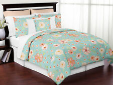 Sweet Jojo Girls Peach Turquoise Chic Watercolor Floral Full Queen Bedding Set