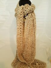 """New Urban Hand crocheted  Soft Chunky Scarf Beige gold & white 5"""" W by 68"""" L"""