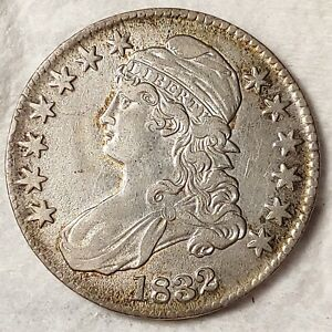 1832 Capped Bust Half Dollar 50c - VF - U.S. Silver - Lettered Edge