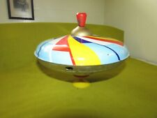 Vintage J.Chein Pressed Tin Toy Spinning Top, Plunger Style Spinning Top, SUPER!