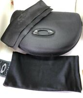 New Large Oakley black Sunglasses Case w/ Cleaning Cloth, Dust bag,