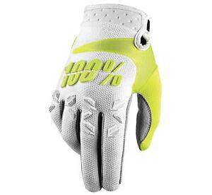 100% Men's Airmatic Gloves White Medium MX ATV UTV Motorcross Dirtbike 100