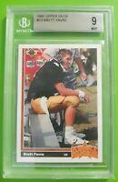 Brett Favre 1991 Upper Deck Rookie Card #13 Graded Beckett Mint 9